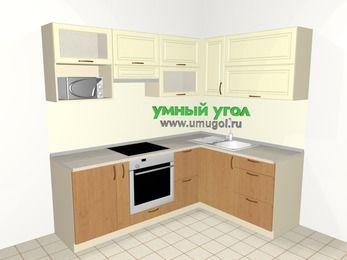Угловая кухня из МДФ + ЛДСП 5,5 м², 2200 на 1600 мм, Ваниль / Ольха, верхние модули 720 мм, верхний витринный модуль под свч, встроенный духовой шкаф