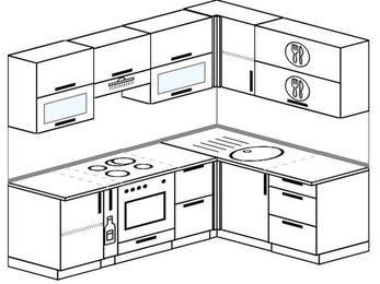 Угловая кухня 5,5 м² (2,2✕1,6 м), верхние модули 72 см, встроенный духовой шкаф