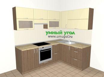 Угловая кухня МДФ матовый 5,5 м², 2200 на 1600 мм, Ваниль / Лиственница бронзовая, верхние модули 720 мм, встроенный духовой шкаф