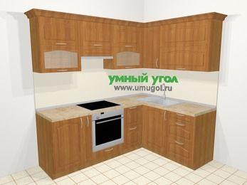Угловая кухня МДФ матовый в классическом стиле 5,5 м², 220 на 160 см, Вишня, верхние модули 72 см, встроенный духовой шкаф