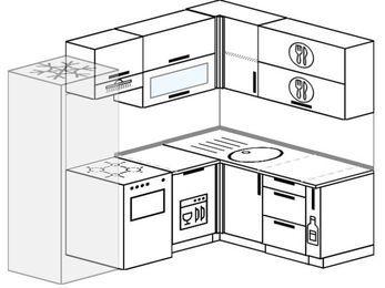 Угловая кухня 5,5 м² (2,2✕1,6 м), верхние модули 72 см, посудомоечная машина, холодильник, отдельно стоящая плита