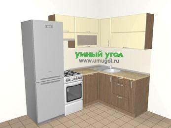 Угловая кухня МДФ матовый 5,5 м², 2200 на 1600 мм, Ваниль / Лиственница бронзовая, верхние модули 720 мм, посудомоечная машина, холодильник, отдельно стоящая плита
