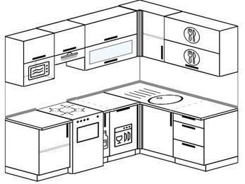 Угловая кухня 5,5 м² (2,2✕1,6 м), верхние модули 72 см, посудомоечная машина, верхний модуль под свч, отдельно стоящая плита
