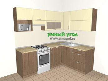 Угловая кухня МДФ матовый 5,5 м², 2200 на 1600 мм, Ваниль / Лиственница бронзовая, верхние модули 720 мм, посудомоечная машина, верхний модуль под свч, отдельно стоящая плита