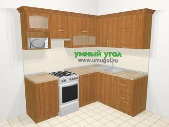 Угловая кухня МДФ матовый в классическом стиле 5,5 м², 220 на 160 см, Вишня, верхние модули 72 см, посудомоечная машина, верхний модуль под свч, отдельно стоящая плита