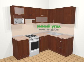 Угловая кухня МДФ матовый в классическом стиле 5,5 м², 220 на 160 см, Вишня темная, верхние модули 72 см, посудомоечная машина, верхний модуль под свч, отдельно стоящая плита