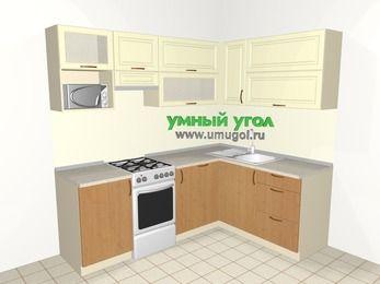 Угловая кухня из МДФ + ЛДСП 5,5 м², 2200 на 1600 мм, Ваниль / Ольха, верхние модули 720 мм, посудомоечная машина, верхний витринный модуль под свч, отдельно стоящая плита