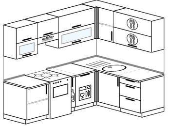 Планировка угловой кухни 5,5 м², 2200 на 1600 мм: верхние модули 720 мм, отдельно стоящая плита, корзина-бутылочница, посудомоечная машина