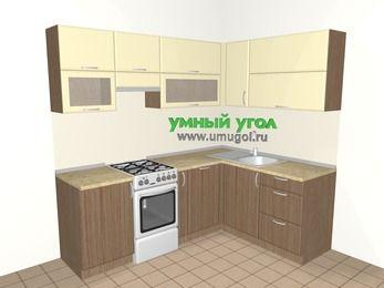 Угловая кухня МДФ матовый 5,5 м², 2200 на 1600 мм, Ваниль / Лиственница бронзовая, верхние модули 720 мм, посудомоечная машина, отдельно стоящая плита