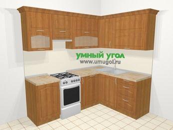 Угловая кухня МДФ матовый в классическом стиле 5,5 м², 220 на 160 см, Вишня, верхние модули 72 см, посудомоечная машина, отдельно стоящая плита