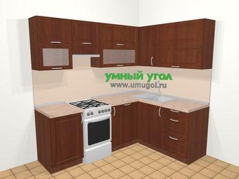Угловая кухня МДФ матовый в классическом стиле 5,5 м², 220 на 160 см, Вишня темная, верхние модули 72 см, посудомоечная машина, отдельно стоящая плита
