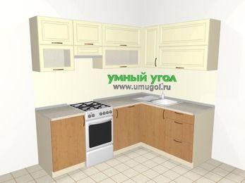 Угловая кухня из МДФ + ЛДСП 5,5 м², 2200 на 1600 мм, Ваниль / Ольха, верхние модули 720 мм, посудомоечная машина, отдельно стоящая плита