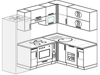 Планировка угловой кухни 5,5 м², 2200 на 1600 мм: верхние модули 720 мм, холодильник, встроенный духовой шкаф, корзина-бутылочница, посудомоечная машина