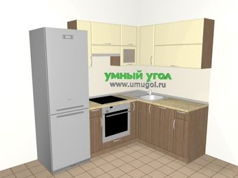 Угловая кухня МДФ матовый 5,5 м², 2200 на 1600 мм, Ваниль / Лиственница бронзовая, верхние модули 720 мм, посудомоечная машина, встроенный духовой шкаф, холодильник
