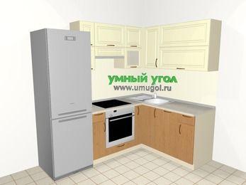 Угловая кухня из МДФ + ЛДСП 5,5 м², 2200 на 1600 мм, Ваниль / Ольха, верхние модули 720 мм, посудомоечная машина, встроенный духовой шкаф, холодильник