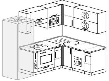 Угловая кухня 5,5 м² (2,2✕1,6 м), верхние модули 72 см, посудомоечная машина, верхний модуль под свч, встроенный духовой шкаф, холодильник
