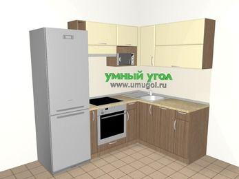 Угловая кухня МДФ матовый 5,5 м², 2200 на 1600 мм, Ваниль / Лиственница бронзовая, верхние модули 720 мм, посудомоечная машина, верхний витринный модуль под свч, встроенный духовой шкаф, холодильник