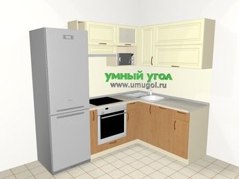 Угловая кухня из МДФ + ЛДСП 5,5 м², 2200 на 1600 мм, Ваниль / Ольха, верхние модули 720 мм, посудомоечная машина, верхний модуль под свч, встроенный духовой шкаф, холодильник
