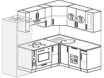 Планировка угловой кухни 5,5 м², 2200 на 1600 мм: верхние модули 720 мм, холодильник, корзина-бутылочница, встроенный духовой шкаф, посудомоечная машина