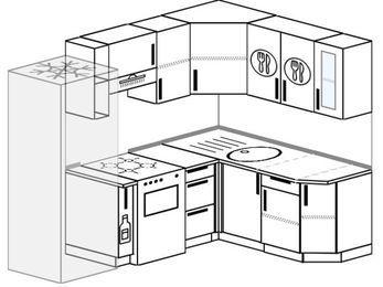 Угловая кухня 5,5 м² (2,2✕1,6 м), верхние модули 72 см, холодильник, отдельно стоящая плита