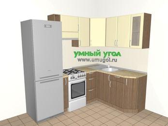 Угловая кухня МДФ матовый 5,5 м², 2200 на 1600 мм, Ваниль / Лиственница бронзовая, верхние модули 720 мм, холодильник, отдельно стоящая плита