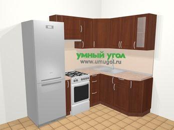 Угловая кухня МДФ матовый в классическом стиле 5,5 м², 220 на 160 см, Вишня темная, верхние модули 72 см, холодильник, отдельно стоящая плита