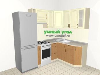 Угловая кухня из МДФ + ЛДСП 5,5 м², 2200 на 1600 мм, Ваниль / Ольха, верхние модули 720 мм, холодильник, отдельно стоящая плита