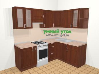 Угловая кухня МДФ матовый в классическом стиле 5,5 м², 220 на 160 см, Вишня темная, верхние модули 72 см, отдельно стоящая плита