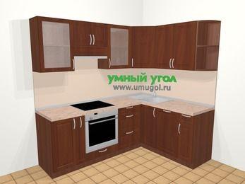 Угловая кухня МДФ матовый в классическом стиле 5,5 м², 220 на 160 см, Вишня темная, верхние модули 72 см, посудомоечная машина, встроенный духовой шкаф