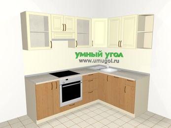 Угловая кухня из МДФ + ЛДСП 5,5 м², 2200 на 1600 мм, Ваниль / Ольха, верхние модули 720 мм, посудомоечная машина, встроенный духовой шкаф