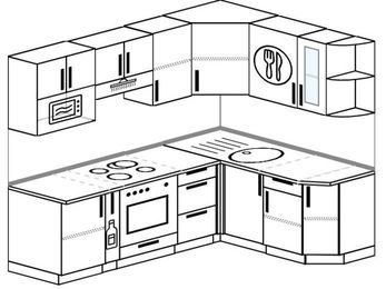 Планировка угловой кухни 5,5 м², 2200 на 1600 мм: верхние модули 720 мм, корзина-бутылочница, встроенный духовой шкаф, модуль под свч