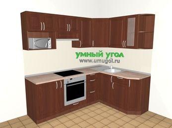 Угловая кухня МДФ матовый 5,5 м², 2200 на 1600 мм, Вишня темная: верхние модули 720 мм, корзина-бутылочница, встроенный духовой шкаф, модуль под свч