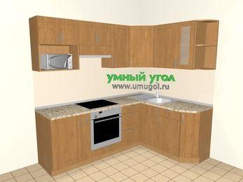 Угловая кухня МДФ матовый 5,5 м², 2200 на 1600 мм, Ольха: верхние модули 720 мм, корзина-бутылочница, встроенный духовой шкаф, модуль под свч