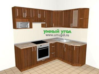 Угловая кухня из массива дерева 5,5 м², 2200 на 1600 мм, Темно-коричневые оттенки: верхние модули 720 мм, корзина-бутылочница, встроенный духовой шкаф, модуль под свч