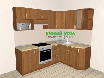 Угловая кухня из рамочного МДФ 5,5 м², 2200 на 1600 мм, Орех: верхние модули 720 мм, корзина-бутылочница, встроенный духовой шкаф, модуль под свч