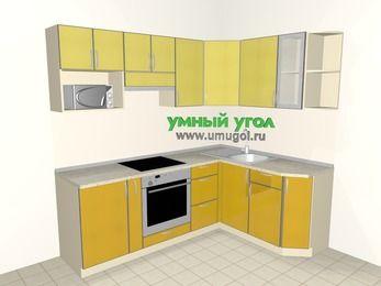 Кухни пластиковые угловые 5,5 м², 2200 на 1600 мм, Желтый Альтамир глянец / Желтый глянец: верхние модули 720 мм, корзина-бутылочница, встроенный духовой шкаф, модуль под свч