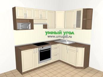 Угловая кухня из массива дерева 5,5 м², 2200 на 1600 мм, Бежевые оттенки: верхние модули 720 мм, корзина-бутылочница, встроенный духовой шкаф, модуль под свч
