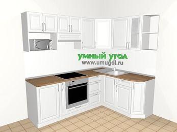 Угловая кухня из массива дерева 5,5 м², 2200 на 1600 мм, Белые оттенки: верхние модули 720 мм, корзина-бутылочница, встроенный духовой шкаф, модуль под свч