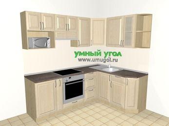 Угловая кухня из массива дерева 5,5 м², 2200 на 1600 мм, Светло-коричневые оттенки: верхние модули 720 мм, корзина-бутылочница, встроенный духовой шкаф, модуль под свч