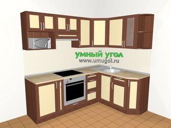 Угловая кухня из рамочного МДФ 5,5 м², 2200 на 1600 мм, Вишня темная / Крем: верхние модули 720 мм, корзина-бутылочница, встроенный духовой шкаф, модуль под свч