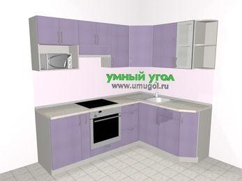 Кухни пластиковые угловые 5,5 м², 2200 на 1600 мм, Сиреневый глянец: верхние модули 720 мм, корзина-бутылочница, встроенный духовой шкаф, модуль под свч