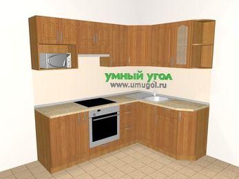 Угловая кухня МДФ матовый 5,5 м², 2200 на 1600 мм, Вишня: верхние модули 720 мм, корзина-бутылочница, встроенный духовой шкаф, модуль под свч