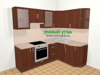 Угловая кухня МДФ матовый в классическом стиле 5,5 м², 220 на 160 см, Вишня темная, верхние модули 72 см, встроенный духовой шкаф