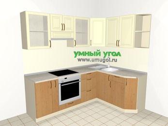 Угловая кухня из МДФ + ЛДСП 5,5 м², 2200 на 1600 мм, Ваниль / Ольха, верхние модули 720 мм, встроенный духовой шкаф