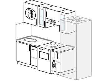 Планировка прямой кухни 5,0 м², 220 см (зеркальный проект): верхние модули 72 см, отдельно стоящая плита, корзина-бутылочница, холодильник