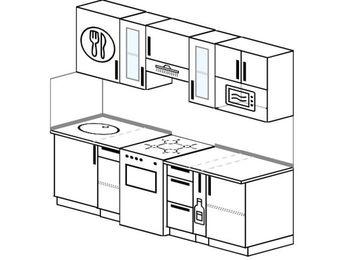Планировка прямой кухни 5,0 м², 220 см (зеркальный проект): верхние модули 72 см, отдельно стоящая плита, корзина-бутылочница, модуль под свч