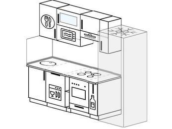 Прямая кухня 5,0 м² (2,2 м), верхние модули 72 см, посудомоечная машина, верхний модуль под свч, встроенный духовой шкаф, холодильник