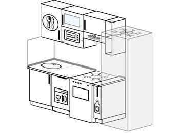 Прямая кухня 5,0 м² (2,2 м), верхние модули 72 см, посудомоечная машина, верхний модуль под свч, холодильник, отдельно стоящая плита