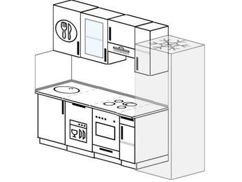 Планировка прямой кухни 5,0 м², 220 см (зеркальный проект): верхние модули 72 см, посудомоечная машина, встроенный духовой шкаф, холодильник