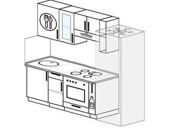 Прямая кухня 5,0 м² (2,2 м), верхние модули 72 см, встроенный духовой шкаф, холодильник